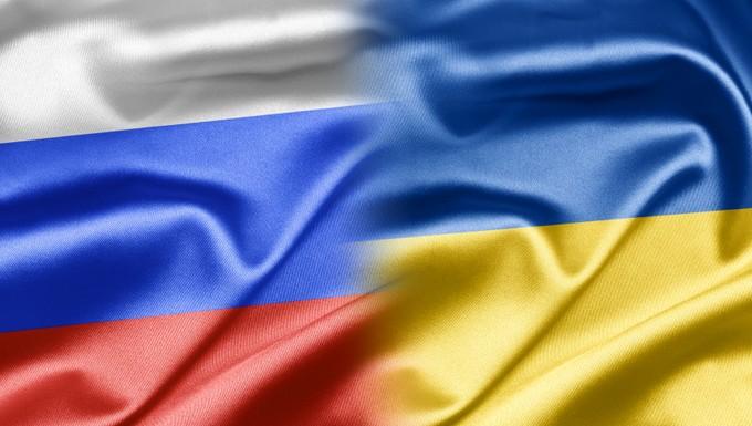 drapeaux russe et ukrainien
