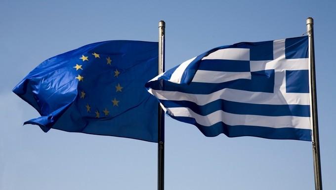 Drapeaux Grèce et UE