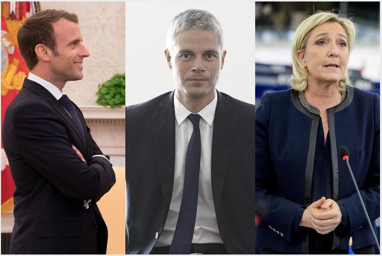 De gauche à droite : Emmanuel Macron, Laurent Wauquiez, Marine le Pen.