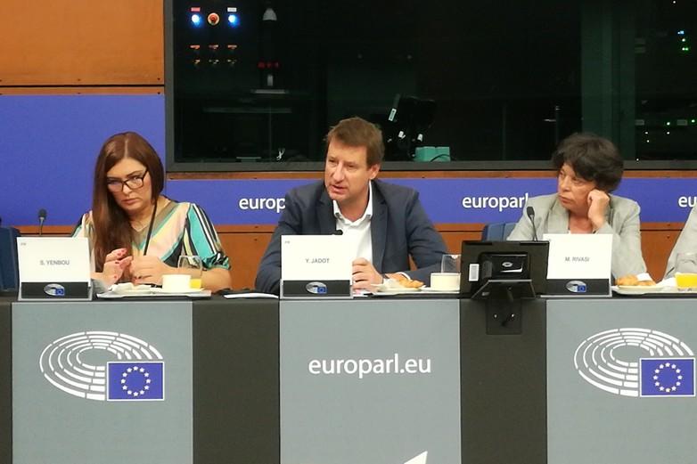 Point presse des eurodéputés écologistes français, le 17 septembre à Strasbourg - Crédits : Marie Guitton / Toute l'Europe