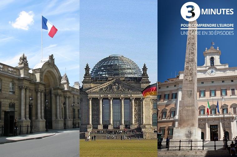De gauche à droite : l'Elysée, le Bundestag et le Palazzo Montecitorio - Crédits : Ex13, Wolfgang Pehlemann et Jimmyweee / Wikipedia Commons