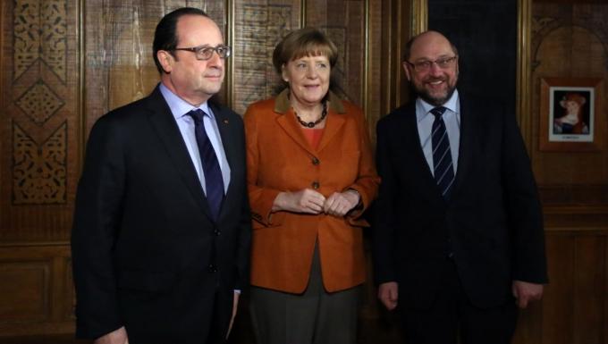 Dîner entre François Hollande, Angela Merkel et Martin Schulz © Présidence de la République