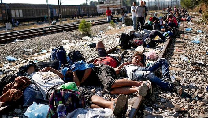 Migrants à la frontière greco-macédonienne (c) Freedom House
