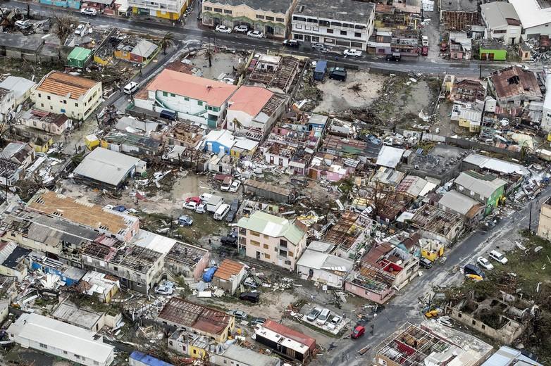Saint-Martin après le passage d'Irma. Crédits : ministère néerlandais de la Défense