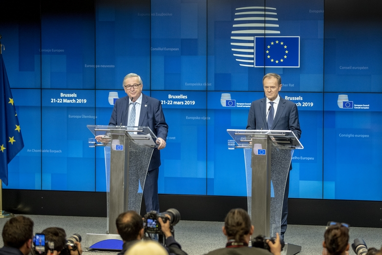 Jean-Claude Juncker, président de la Commission européenne, et Donald Tusk, président du Conseil européen, le 21 mars 2019 à Bruxelles - Crédits : Enzo Zucchi / Conseil européen