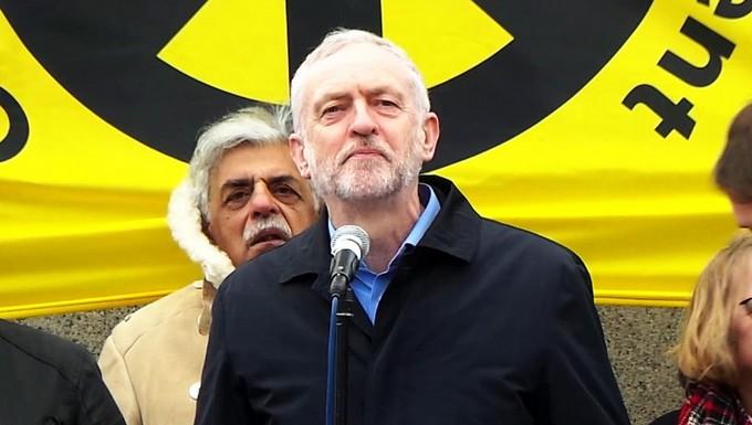 Jeremy Corbyn, en février 2016, lors d'un meeting contre le programme nucléaire Trident