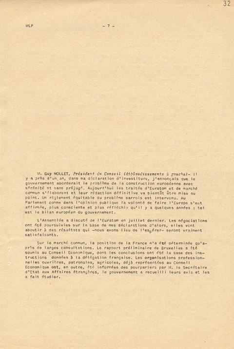 Intervention de Guy Mollet lors de la séance du 22 janvier 1957 visant à répondre aux interpellations des députés à propos du Marché commun européen. 22 janvier 1957.
