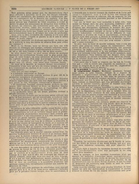 Intervention de Léopold-Sédar Senghor lors de la séance du 4 juillet 1957 visant à faire part de ses réserves sur le projet de Marché commun européen.
