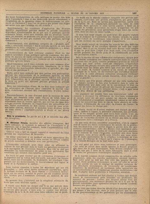 Intervention de Christian Pineau lors de la séance du 18 janvier 1957 destinée à convaincre les députés d'associer la France au projet de Marché commun.