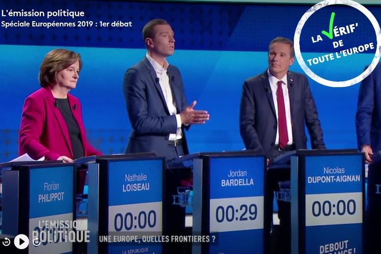 Nathalie Loiseau, Jordan Bardella et Nicolas Dupont-Aignan, le 4 avril 2019 - Crédits : Capture d'écran / France 2