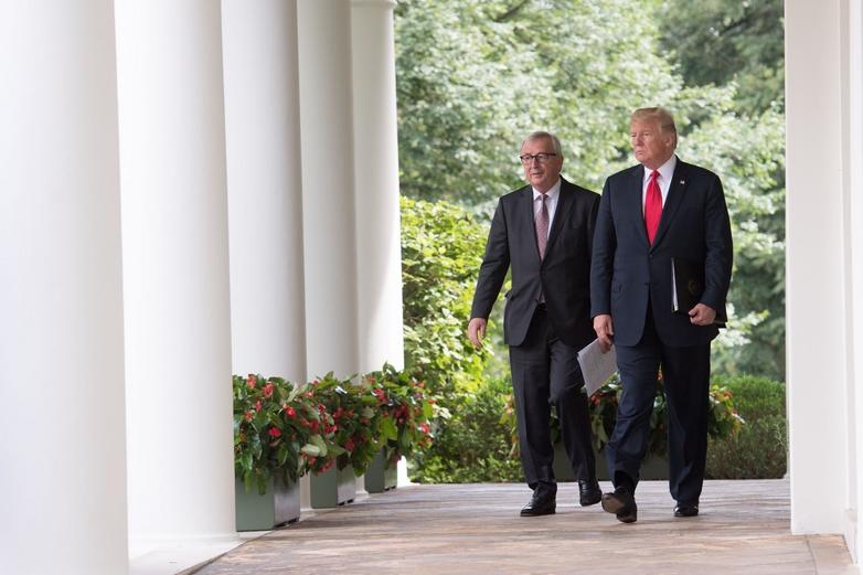 Le président de la Commission européenne Jean-Claude Juncker et le président des Etats-Unis Donald Trump à Washington le 25 juillet 2018 - Crédits : Etienne Ansotte / Commission européenne