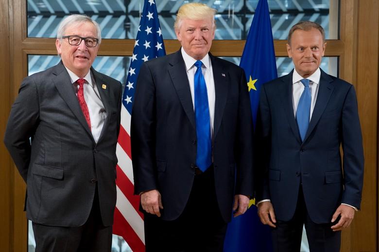 Jean-Claude Juncker, Donald Trump et Donald Tusk