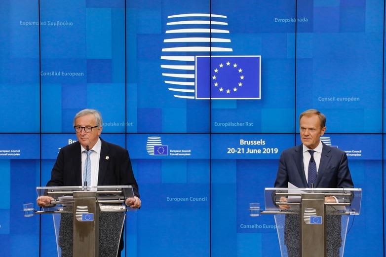 Les présidents de la Commission et Conseil européens Jean-Claude Juncker et Donald Tusk après le dîner des chefs d'Etat et de gouvernement de l'UE le 20 juin - Crédits : Dario Pignatelli / Conseil européen