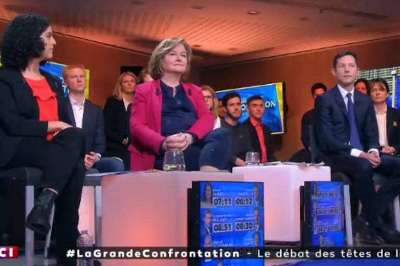 Manon Aubry (LFI), Nathalie Loiseau (LaREM) et François-Xavier Bellamy (LR) sur le plateau de LCI lundi - crédits : LCI (copie d'écran)
