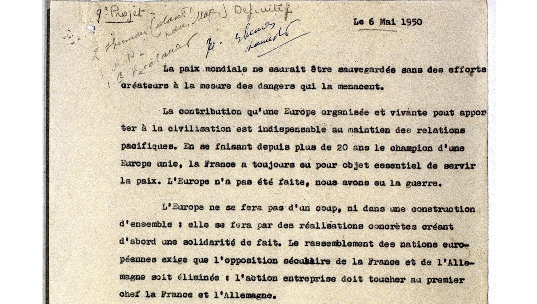 9è et dernier projet de la déclaration Schuman