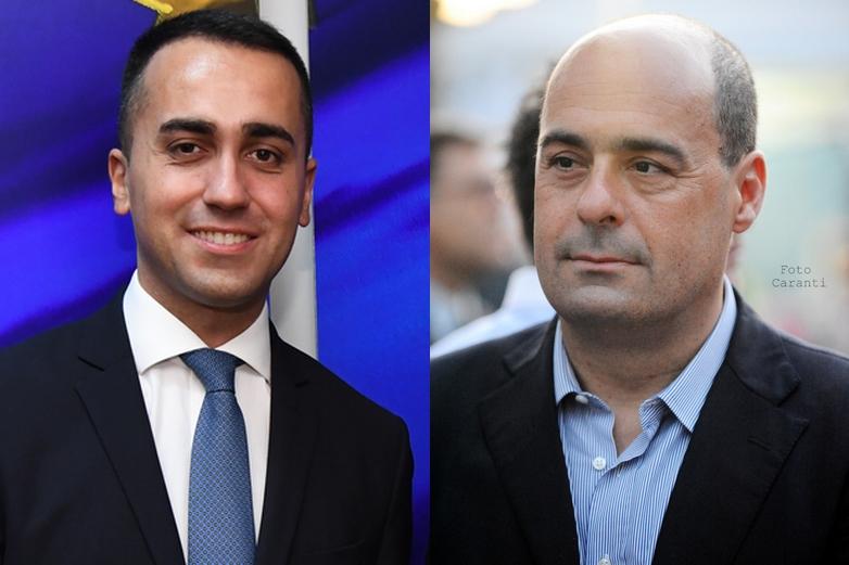 Luigi di Maio et Nicola Zingaretti, respectivement chefs du Mouvement 5 étoiles et du Parti démocrate qui pourraient former une coalition gouvernementale