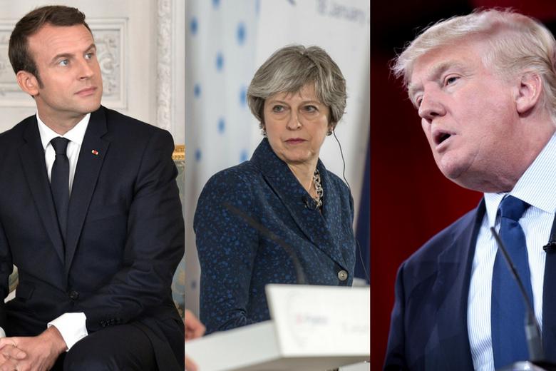 Emmanuel Macron, Theresa May, Donald Trump