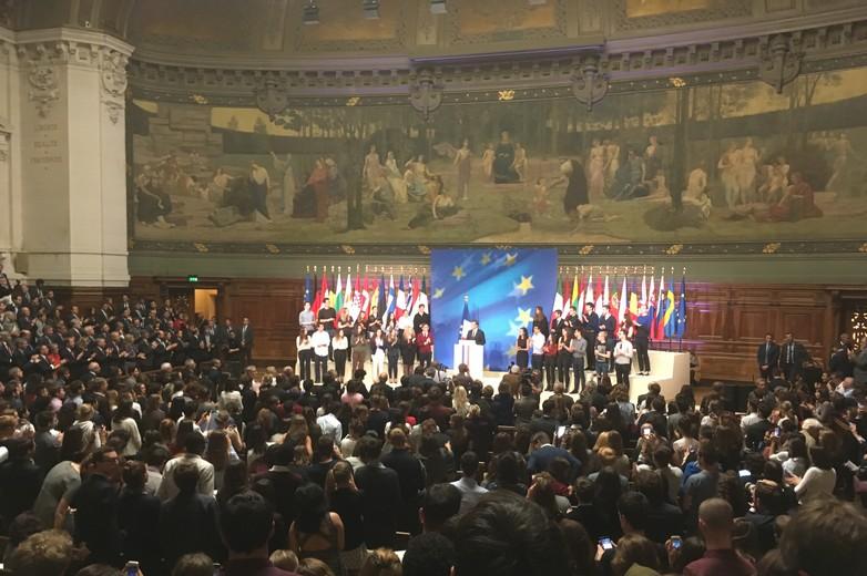Emmanuel Macron à l'occasion de son discours à la Sorbonne, le 26 septembre