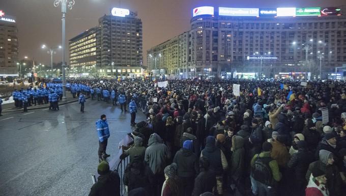 Manifestants à Bucarest