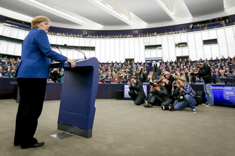 Angela Merkel face au Parlement européen, le 13 novembre 2018 - Crédits : Mathieu Cugnot, Parlement européen