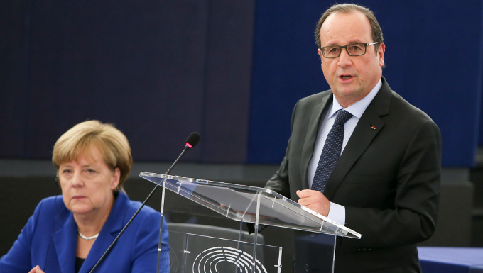 Official visit of the Chancellor of the Federal Republic of Germany and the President of the Republic of France in the Plenary Chamber in Strasbourg