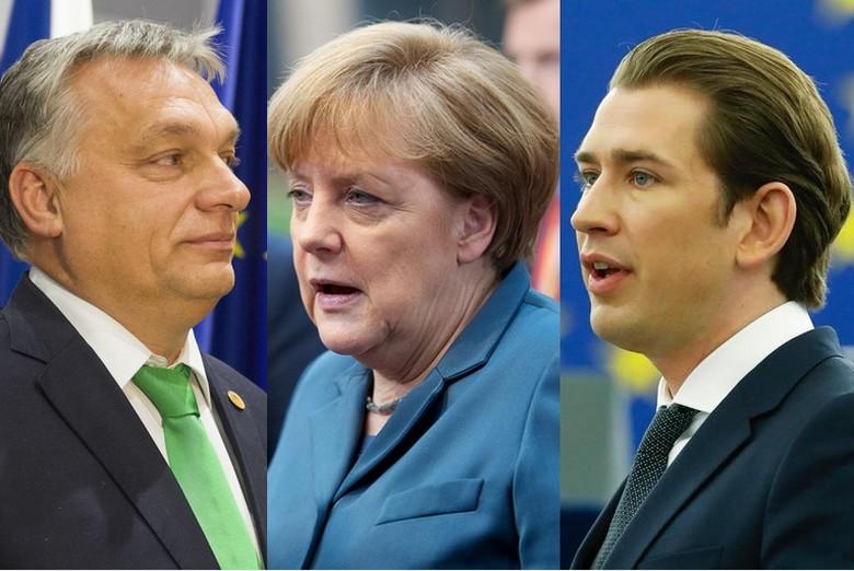 de gauche à droite : Viktor Orban, premier ministre hongrois, Angela Merkel, chancelière allemande et Sebastian Kruz, chancelier autrichien.