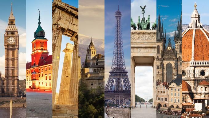 De gauche à droite : la tour Elizabeth à Londres, la vieille ville de Varsovie, le Parthénon à Athènes, l'Alhambra de Grenade, la tour Eiffel à Paris, la porte de Brandebourg à Berlin, la place de la Vieille-Ville à Prague et la cathédrale Santa Maria del Fiore à Florence - Crédits : Mlenny / iStock | WillSelarep / iStock | TommL / iStock | santof / iStock