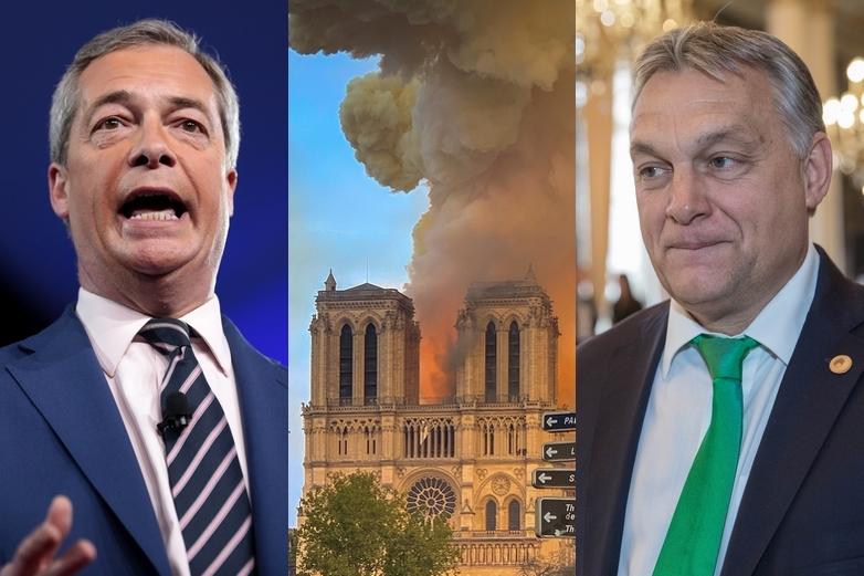 Nigel Farage, l'incendie de Notre-Dame et Viktor Orbán - Crédits : Gage Skidmore / Flickr   Milliped / Wikimedia Commons   Parti populaire européen / Flickr