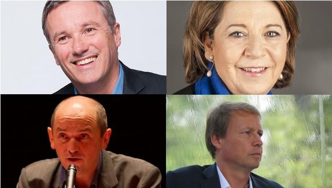 De gauche à droite et de haut en bas : Nicolas Dupont-Aignan, Corinne Lepage, Pierre Larrouturou, Denis Payre