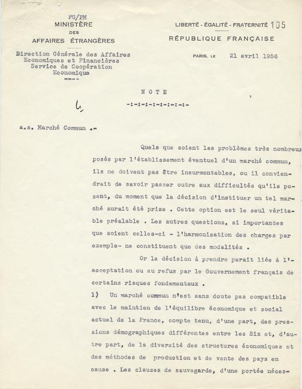 Note de la direction générale des Affaires économiques et financières sur les problèmes posés à la France par le projet de Marché commun. Paris, 21 avril 1956.