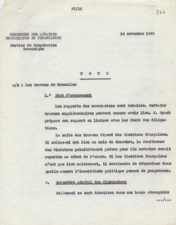 État des travaux du Comité des délégués gouvernementaux et des experts réunis à Bruxelles, en vue de la préparation d'un Marché commun de l'utilisation pacifique de l'énergie atomique et des transports aériens. Paris, 14 novembre 1955.