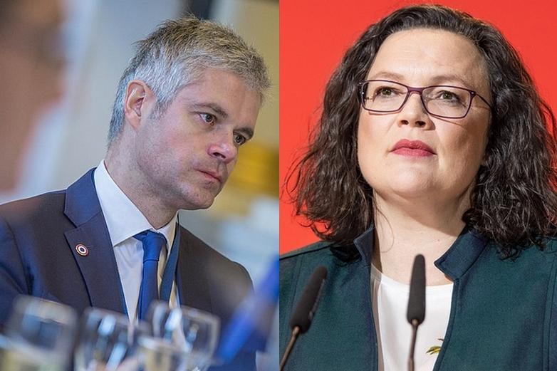 Laurent Wauquiez et Andrea Nahles, tous deux démissionnaires de la tête de leurs partis respectifs (LR et SPD)