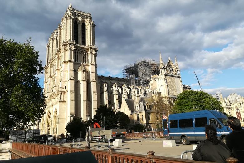 La cathédrale Notre-Dame de Paris le 12 mai 2019, un peu moins d'un mois après l'incendie des 15 et 16 avril - Crédits : Marie Guitton / Toute l'Europe