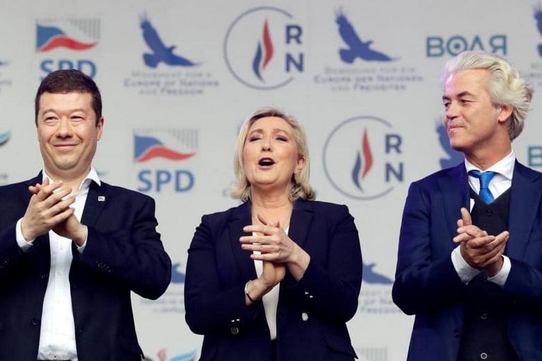 Tomio Okamura, Marine Le Pen et Geert Wilders le 25 avril 2019 à Prague - Crédits : compte Facebook @geertwilders