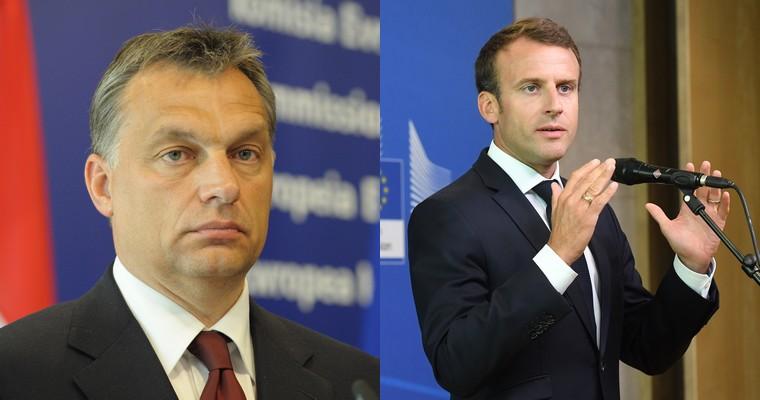 Viktor Orban (à gauche) et Emmanuel Macron (à droite)