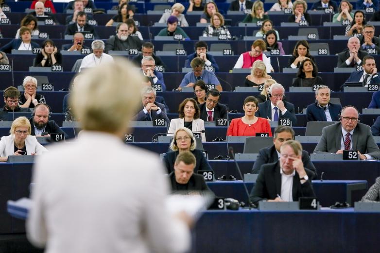 Le Parlement européen pendant le discours d'Ursula von der Leyen, le 16 juillet 2019