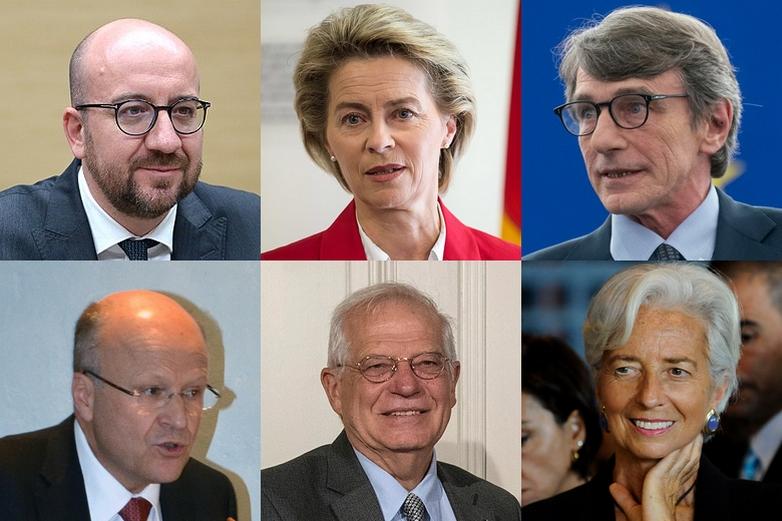 Charles Michel, Ursula von der Leyen, David Sassoli, Koen Lenaerts, Josep Borrell et Christine Lagarde