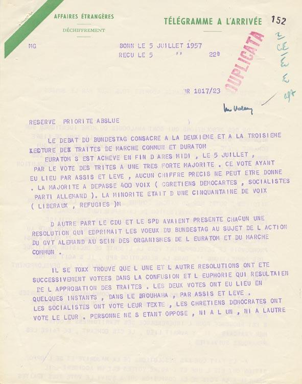 Télégramme concernant la ratification des traités du Marché commun et d'Euratom par le Bundestag Bonn, 5 juillet 1957.