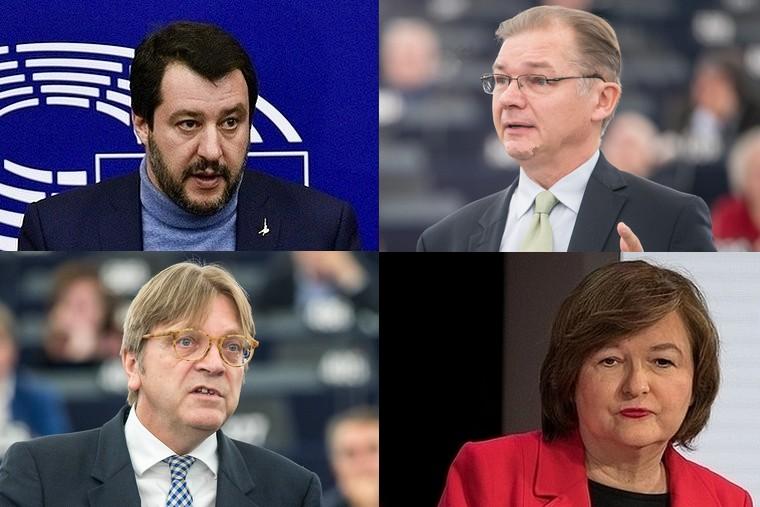 De gauche à droite et de haut en bas : Matteo Salvini, Philippe Lamberts, Guy Verhofstadt et Nathalie Loiseau - Crédits : Michel Christen / Parlement européen | Parlement européen / Flickr | Amélie Laurin / Flickr
