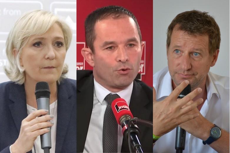 Marine Le Pen, Benoît Hamon et Yannick Jadot - Crédits : Facebook, France Inter (copie d'écran), Wikimedia Commons