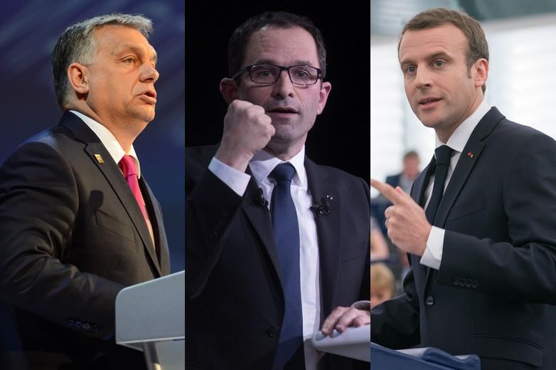 Viktor Orban, Benoît Hamon et Emmanuel Macron - Crédits : European People's Party | Parti socialiste | Parlement européen / Flickr