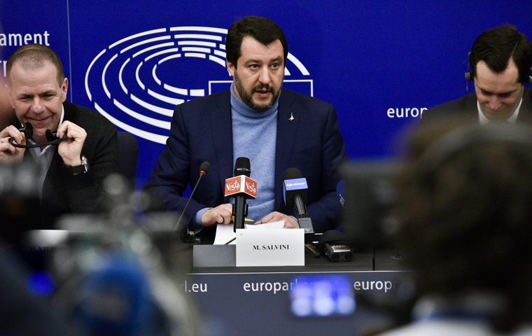 Matteo Salvini au Parlement européen le 13 mars 2018 - Crédits : Michel Christen / Parlement européen