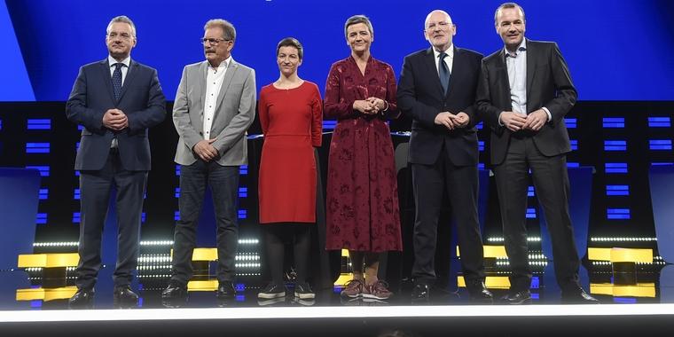 Jan Zahradil (CRE), Nico Cué (GUE), Ska Keller (Verts), Margrethe Vestager (ADLE), Frans Timmermans (PSE) et Manfred Weber (PPE) à Bruxelles le 15 mai 2019 - Crédits : Jan Van de Vel / Flickr CC BY 2.0