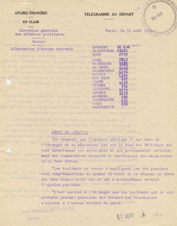 Télégramme concernant les réactions dans les milieux politiques allemands après le rejet de la Communauté européenne de défense. Bonn, 31 août 1954.