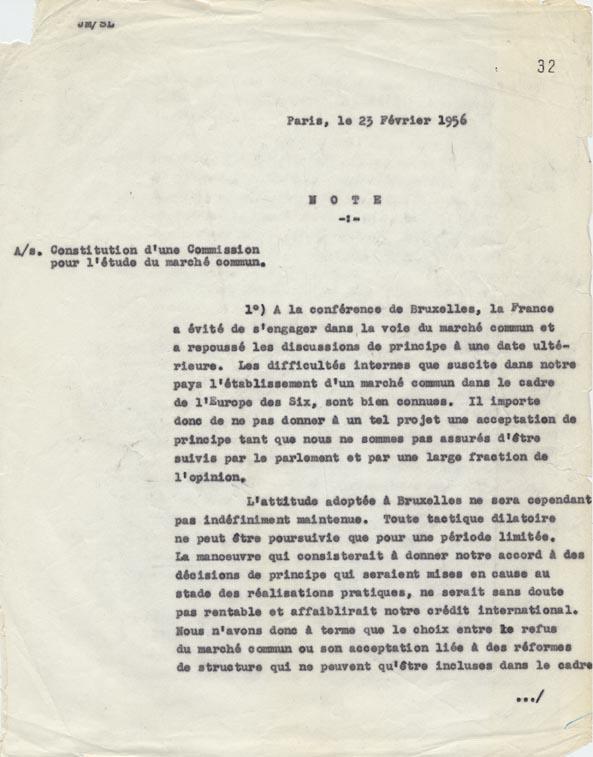 Note recommandant le lancement, en France, d'une étude technique sur le projet de Marché commun. Paris, 23 février 1956.