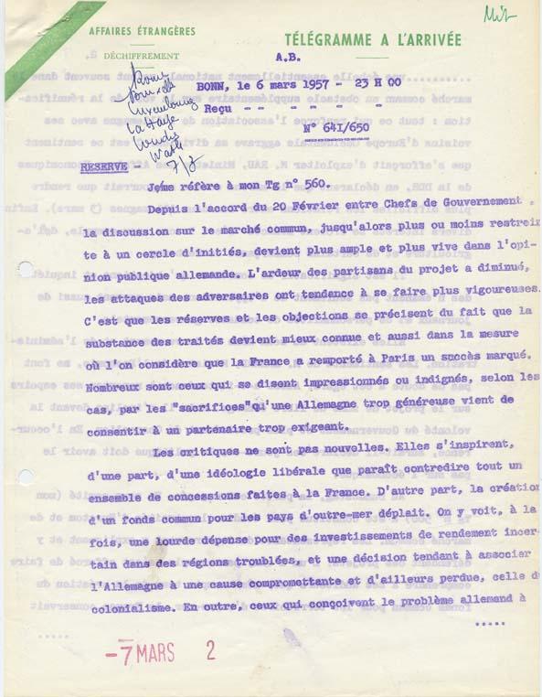 Télégramme de l'ambassade de France en R.F.A. au Quai d'Orsay relatif à l'état de l'opinion publique allemande au sujet du Marché commun. Bonn, 6 mars 1957.