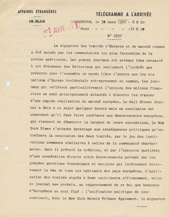 Télégramme de Louis Joxe, ambassadeur de France à Bonn, 12 avril 1956.