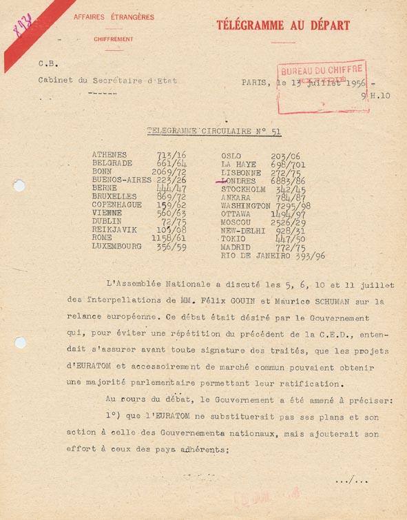 Télégramme circulaire du cabinet du secrétaire d'État des Affaires étrangères adressé aux ambassades françaises à l'étranger, relatif aux débats parlementaires de juillet 1956 sur les négociations européennes. Paris, 13 juillet 1956.