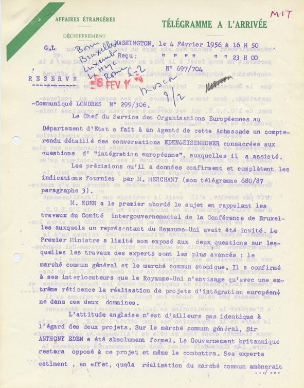 Compte rendu des conversations entre Anthony Eden- et Dwight David Eisenhower. Washington, 4 février 1956.