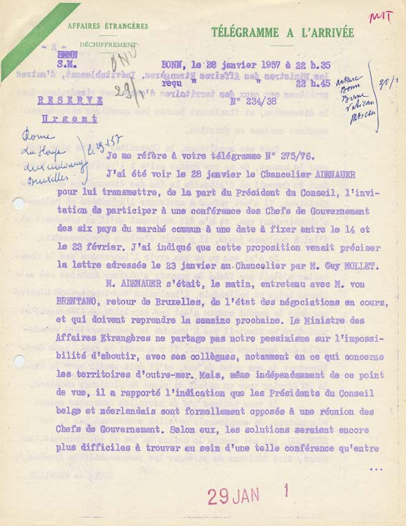 Télégramme de Maurice Couve de Murville, ambassadeur de France en R.F.A., au Quai d'Orsay, relatif à son entrevue avec le chancelier Konrad Adenauer. Bonn, 28 janvier 1957.